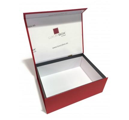 Caja forrada roja tapa arriba
